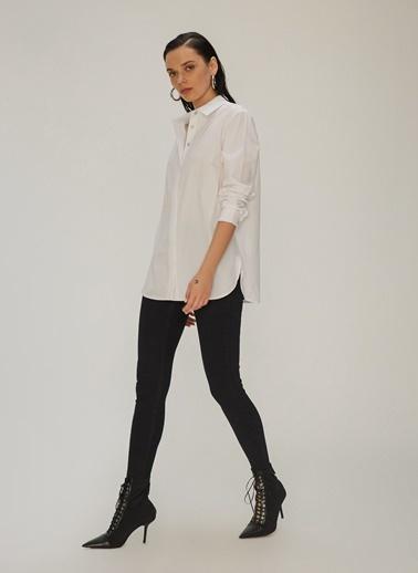 NGSTYLE Poplin Rahat Fit Gömlek Beyaz